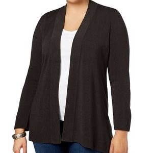 Karen Scott Open Front Cardigan Sz L Black